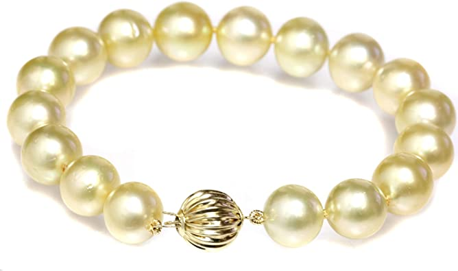 Rare South Sea Pearl Bracelet Pearl and Leather Jewelry Yellow Gold Pearls Knotted on Tan Leather etsy bracelet