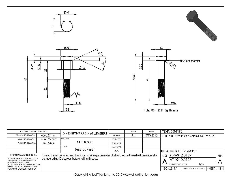 608275001 Pack of 5 Grade 2 CP Allied Titanium 0001186, Inc M8-1.25 Pitch X 45mm Titanium Hex Head Bolt