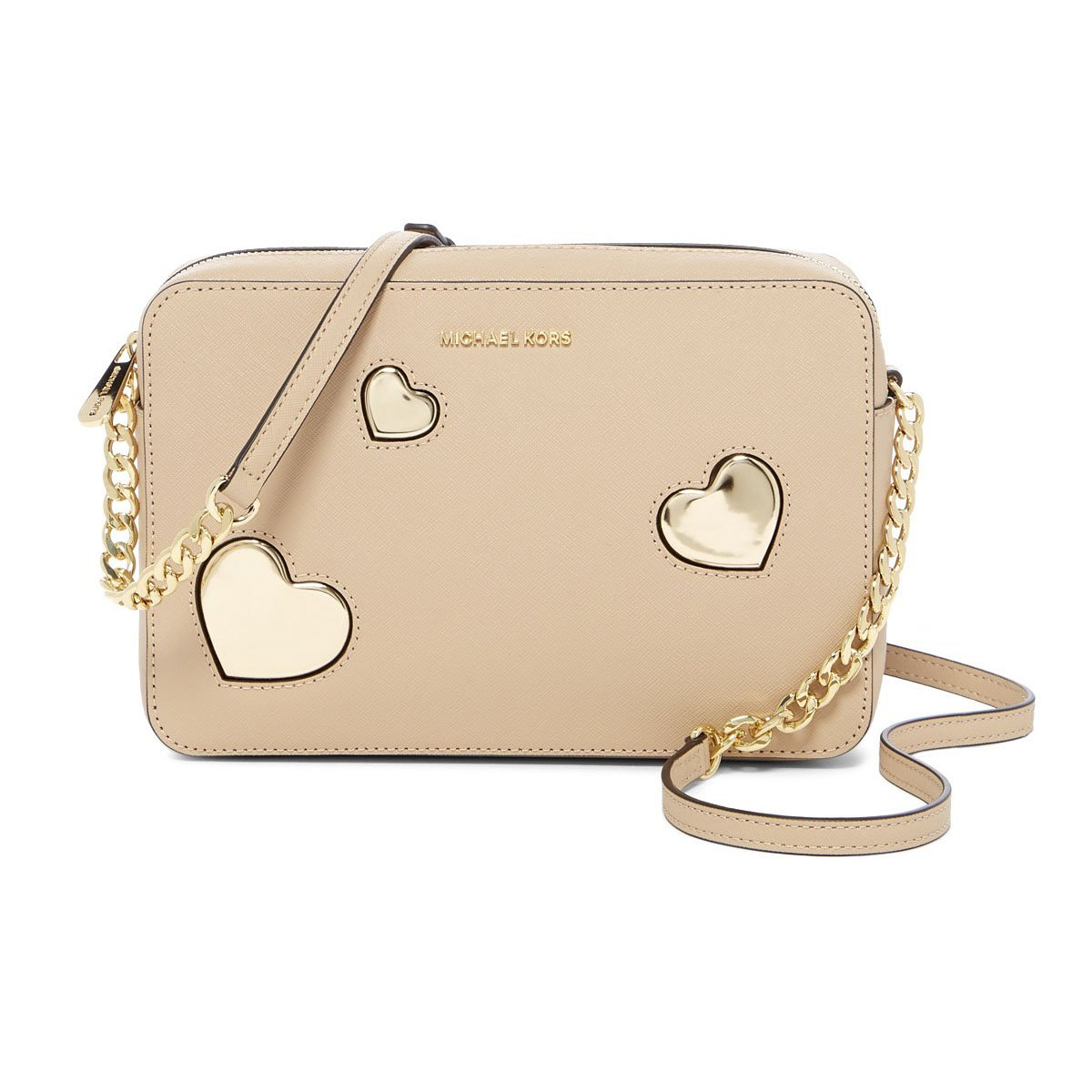 Michael Kors Oyster Leather Gold Peek a Boo Heart Large East West Crossbody