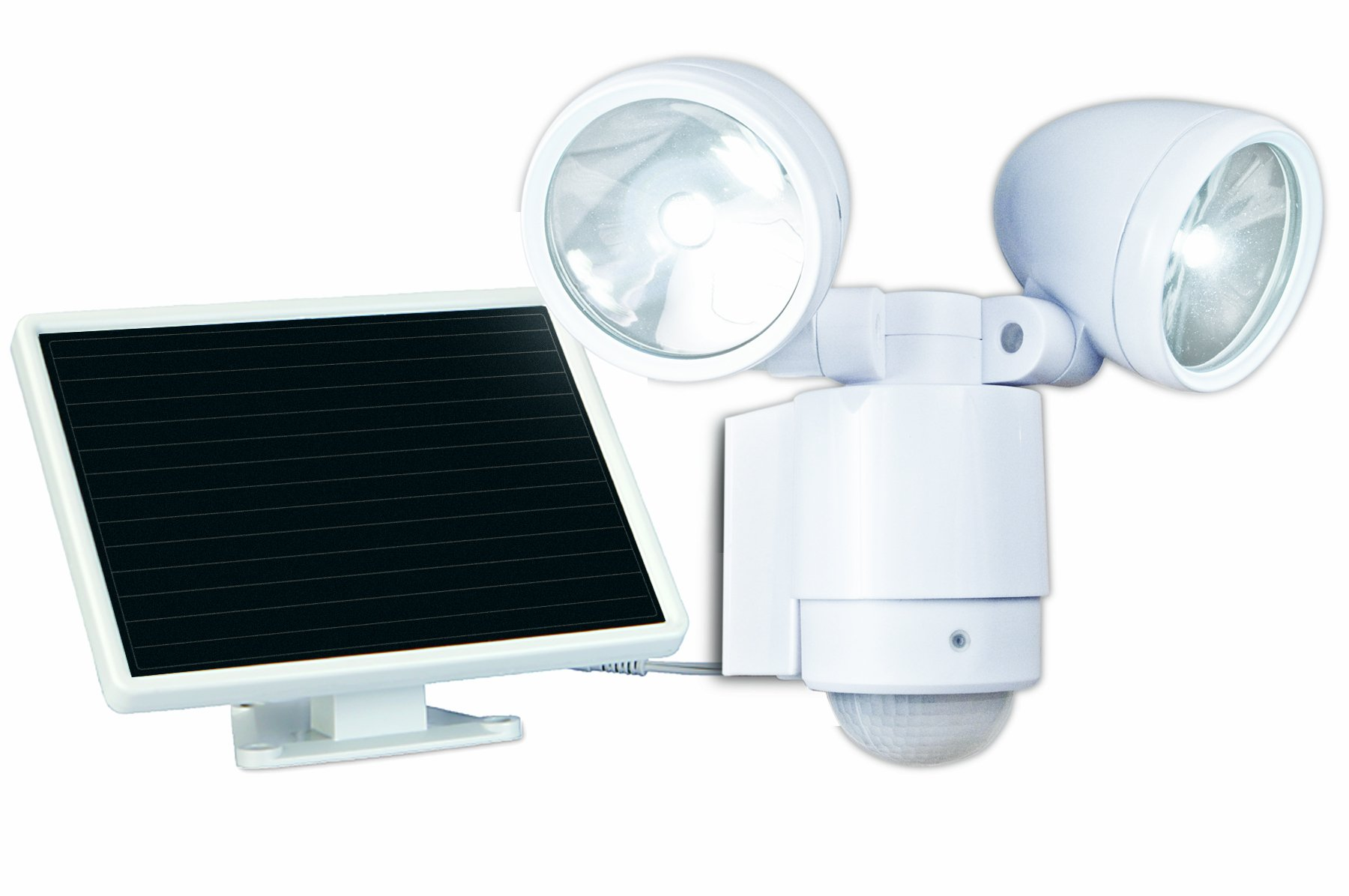 MAXSA Solar Powered Dual-Head Spotlight, Motion-Activated LED Security Light for Driveways, Front-Yards, and Porches, Durable Metal Construction, White 44418