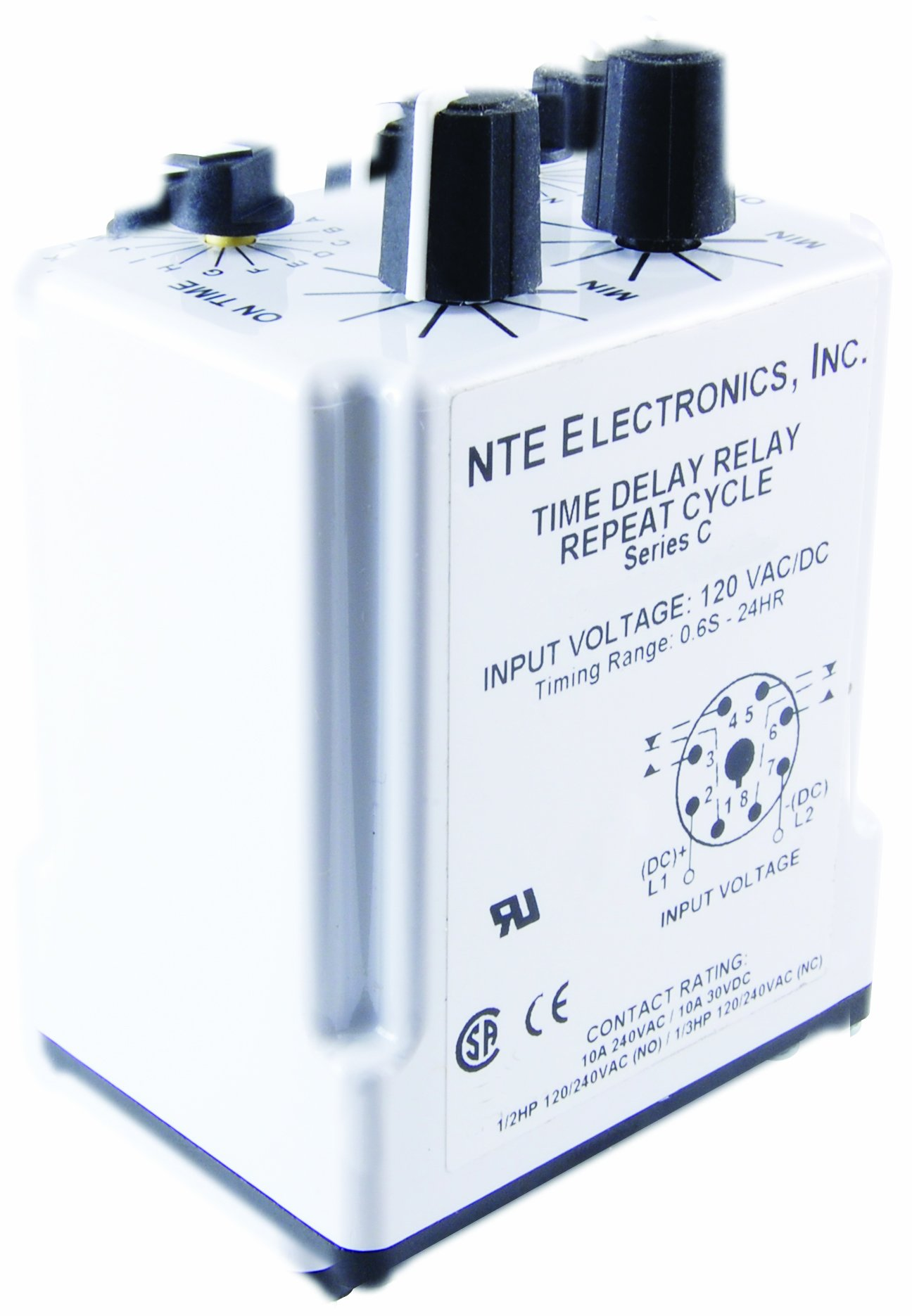 NTE Electronics R27-11AD10-24 Series R27 Programmable Repeat Cycle Time Delay Relay, DPDT, 10 Amp, 8 Pin, 24VAC/DC