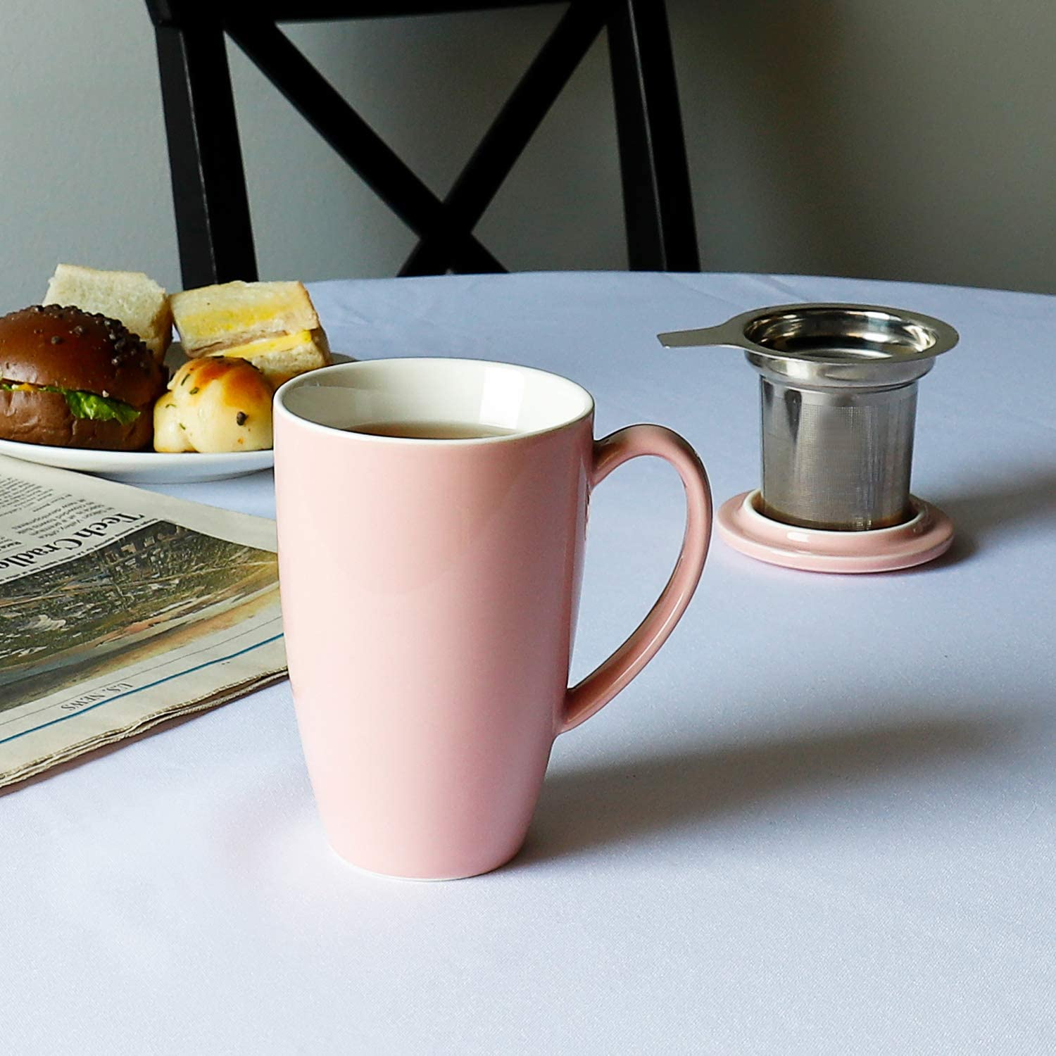 15 OZ Frosted Lightgray Sweese 201.111 Porcelain Tea Mug with Infuser and Lid