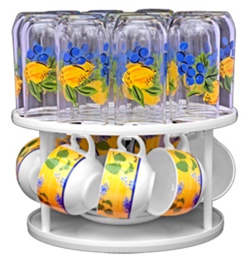 PORTA TAZZE GIREVOLE con 9 ganci Altezza prodotto : 15 cm CAROUSSEL CASTEL Diametro : 27 cm Colore : Bianco Altezza tra i due vassoi 12,5 cm PT-9