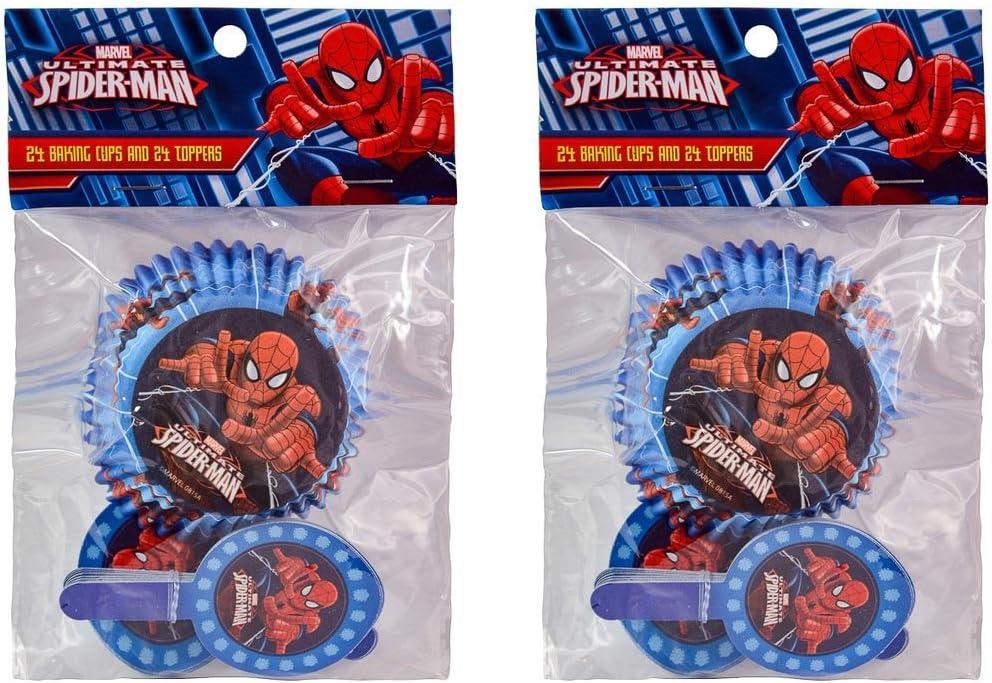2-pack Marvel Spider-Man 24 moldes para cupcakes y 24 adornos para ...