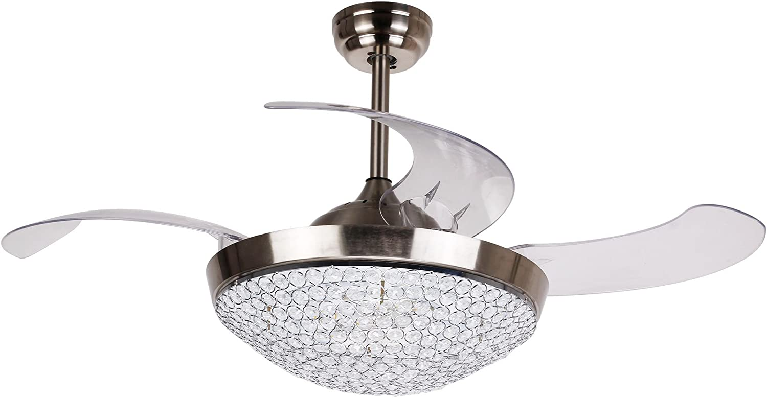 Amazon Com Ceiling Fans With Led Lights 46 Inch Ceiling Fan With Remote Crystal Chandelier Fans With Retractable Blades Replaceable 4000k Cool White Lights Chrome Finished Kitchen Dining