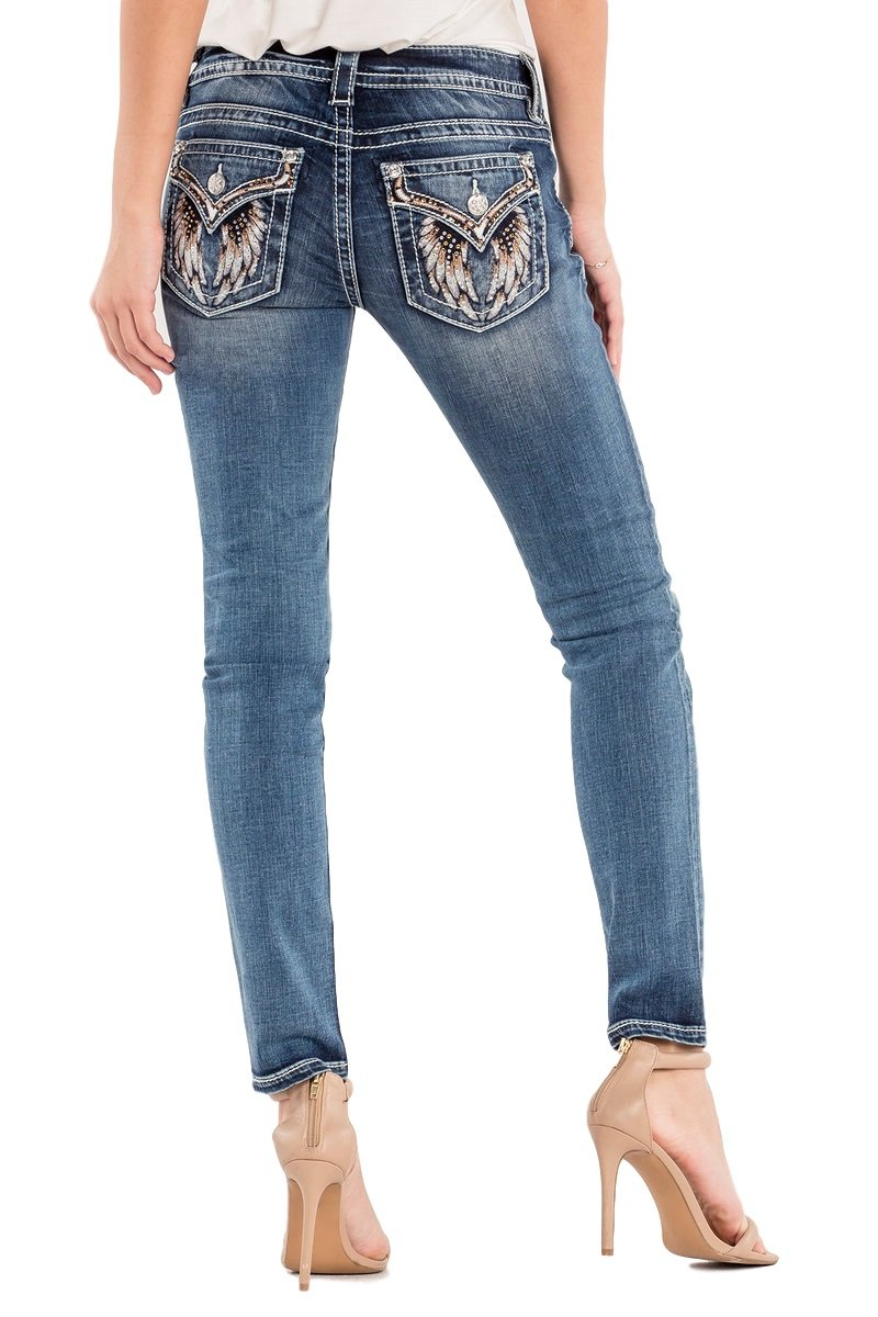 Miss Me Junior's Mid-Rise Skinny Jeans With Wing Back Pockets, Medium Blue, 27