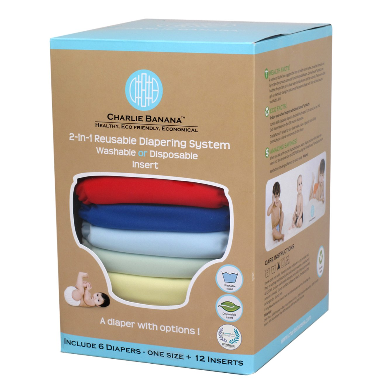 Charlie Banana 2-in-1 Reusable Diapers, Boy, 6 Diapers- One Size + 12 Inserts Winc Design Limited 889425