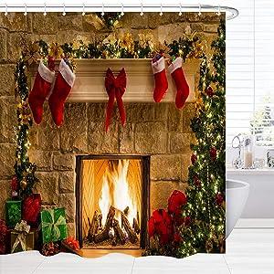 BROSHAN Christmas Shower Curtain Fabric Small , Xmas Season Eve Fireplace Gifts Socks Print Winter Holiday Bath Curtain for Shower, Red Christmas Bathroom Decor Set with Hooks , 60 x 72