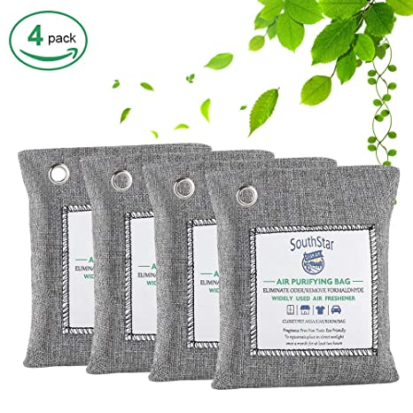 5 Pack Air Purifying Bag Nature Fresh Charcoal Bamboo Purifier Mold Odor Closet
