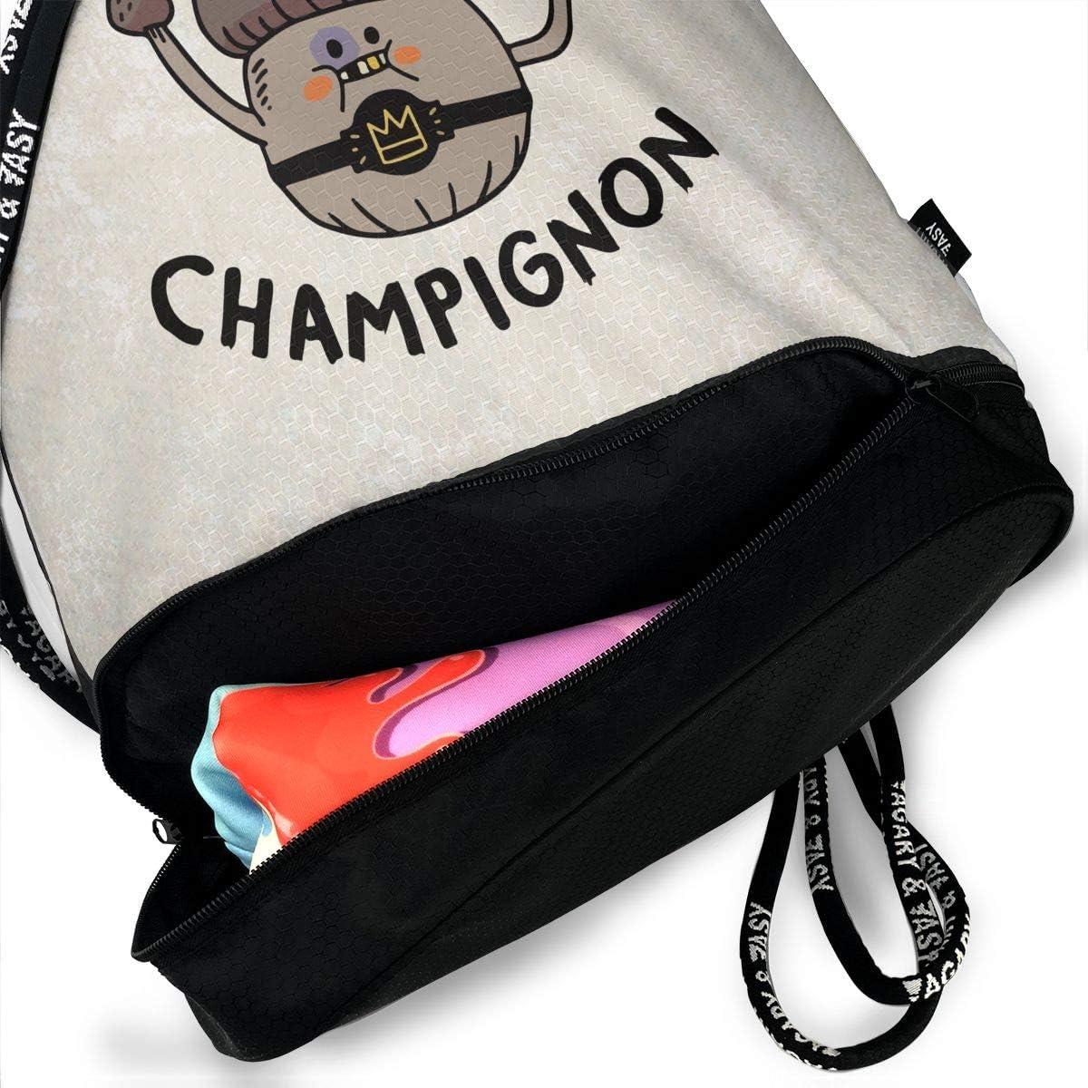 HUOPR5Q Heavyweight Champignon Drawstring Backpack Sport Gym Sack Shoulder Bulk Bag Dance Bag for School Travel