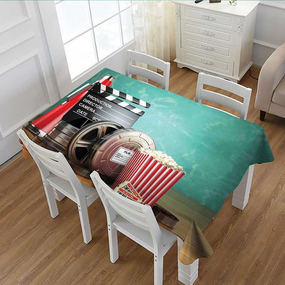 MartinDecor Movie Theater Patterned Tablecloth Production Theme 3D Film Reels Clapperboard Tickets Popcorn and Megaphone Dust-proof Oblong Tablecloth Multicolor 60''x84''