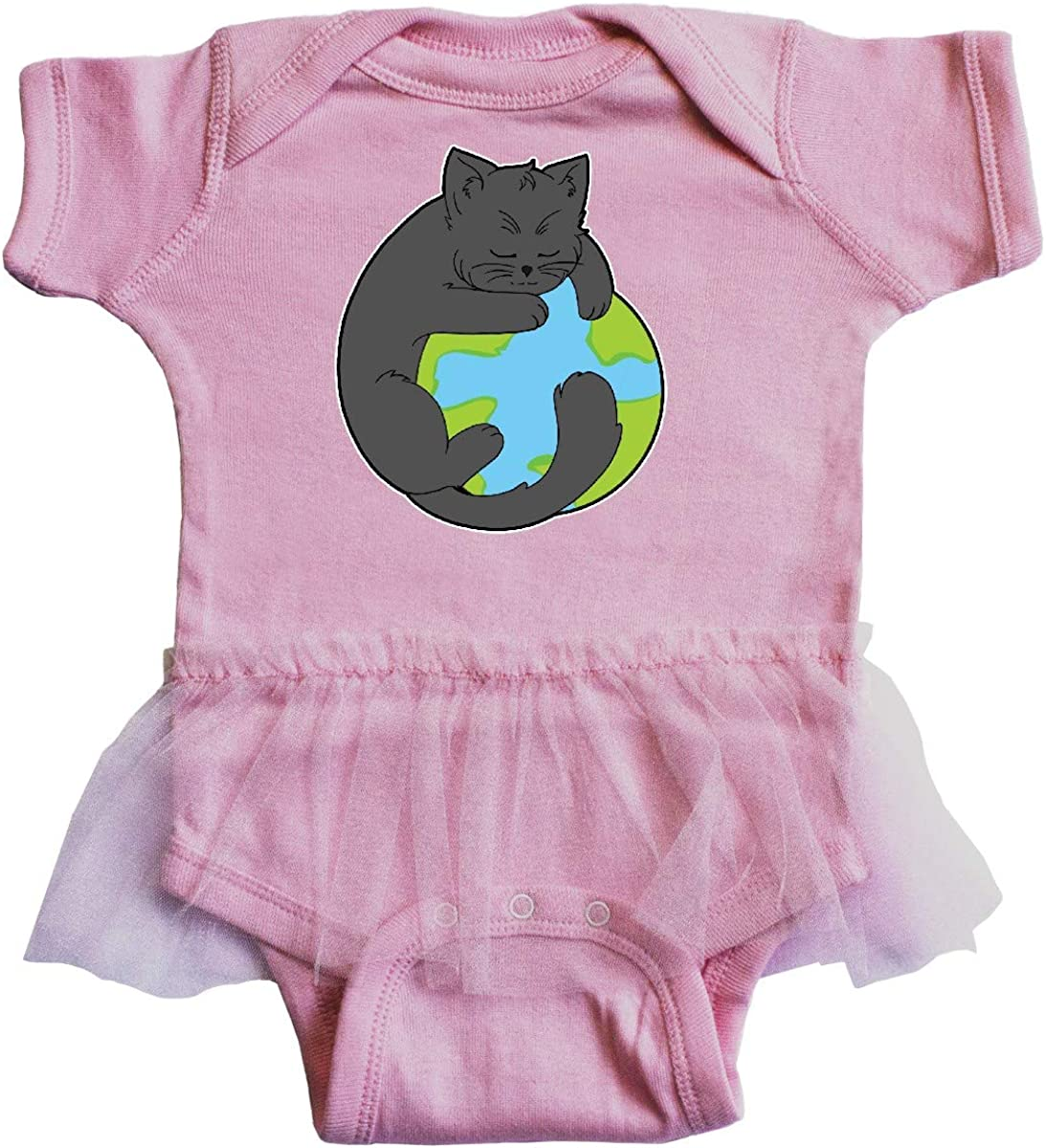 inktastic Black Cat Hugging The Earth Climate Change Infant Tutu Bodysuit