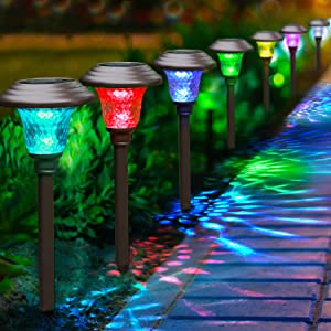 BEAU JARDIN 8 Pack Solar Lights with 7 Color Changing Pathway Outdoor Garden Stake Glass Stainless Steel Waterproof Auto On/Off Sun Powered Landscape Colorful Lighting Effect for Walkway Spike Bronze