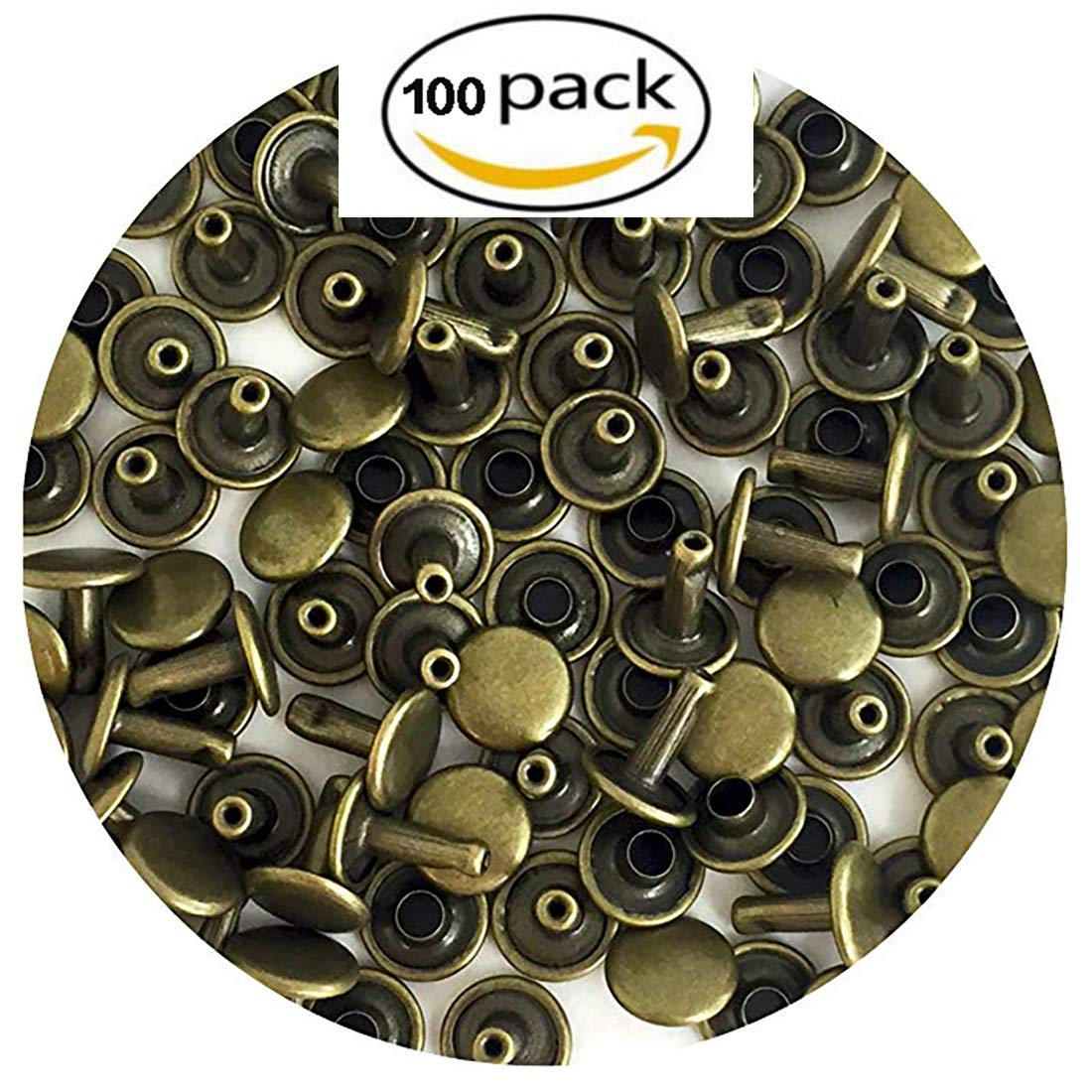Leather Round Double Cap Rivets, Round Head Stud Rivet Leather Craft DIY (GUNMENTAL 100PK-9MM) Angels'