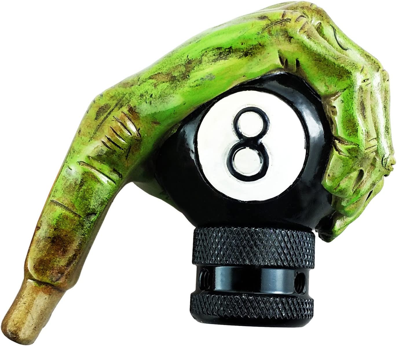 Lunsom 8 Ball Shifter Knob Green Hand Car Transmission Shifter Stick Handle Head Fit Most Automatic Manual Vehicle