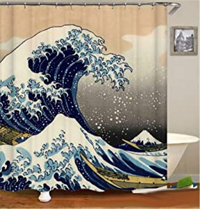 hipaopao Japanese Wave Shower Curtain Kanagawa Wave Nautical Fabric Shower Curtain Sets Bathroom Decor with Hooks Waterproof Washable 72 x 72 inches Blue White Yellow