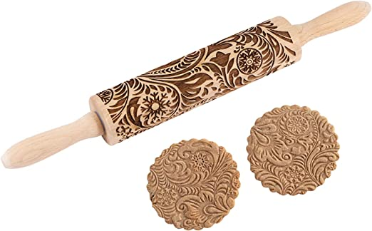 engraved rolling pin for cookies SALUKI embossed