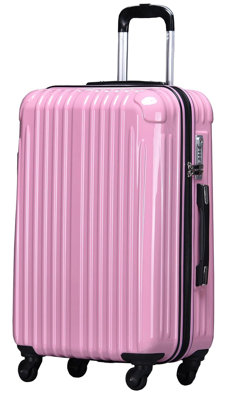 ラッキーパンダ スーツケース TY001 ハード 超軽量 TSAロック ファスナータイプ 機内持込 B0721PHB13 Mサイズ(4~6日の旅行向け)|ピンク ピンク Mサイズ(4~6日の旅行向け)