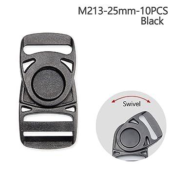 Centro de plástico hebillas de liberación hebillas de conector giratorio hebilla cincha para mochila Bolsa 10 Unidades, negro, 25 mm: Amazon.es: Hogar