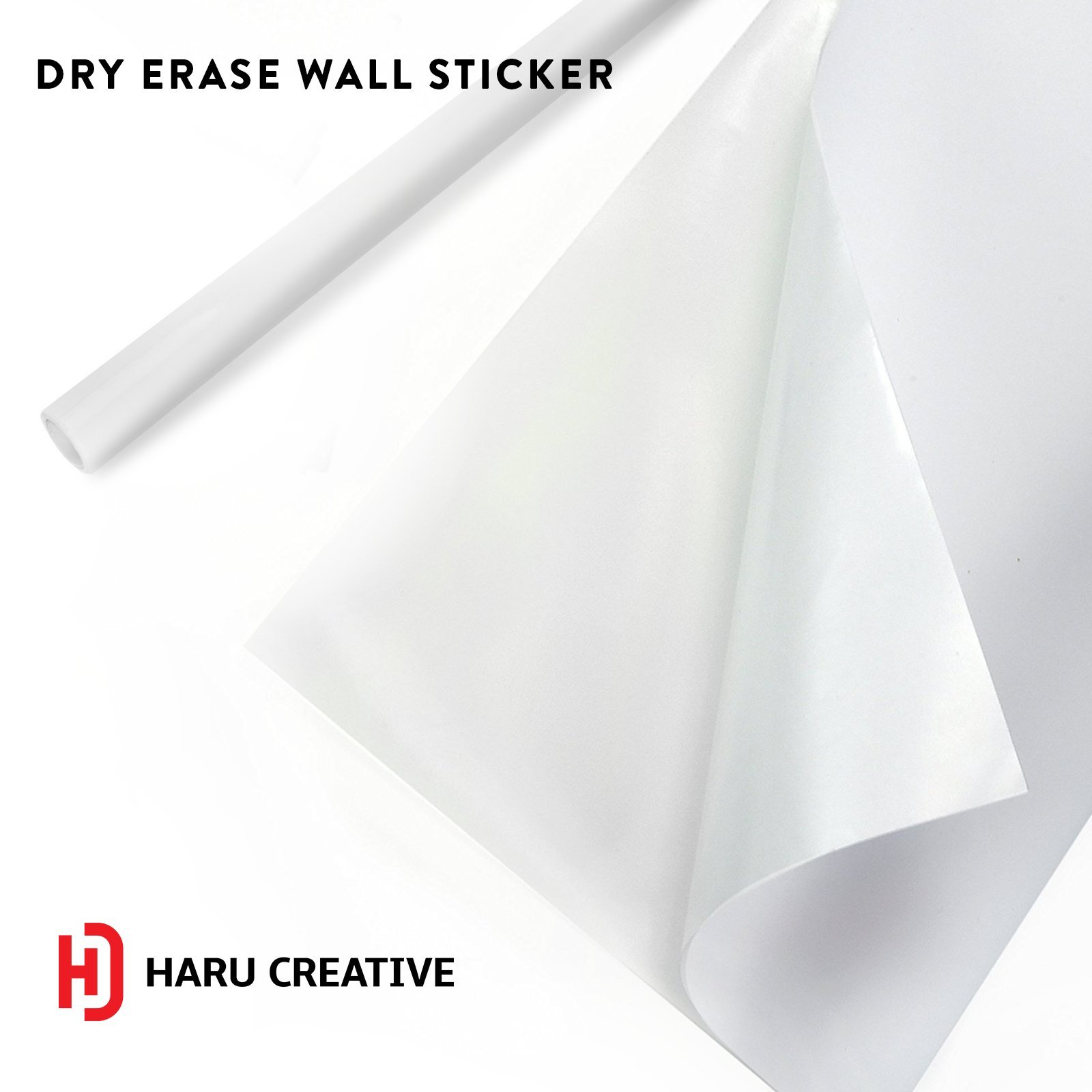 Haru Creative Dry Erase Board Whiteboard Wall Mural Sticker Decal Adhesive Roll Decor for Home, Office, School, Nursery - 4FT x 6FT Sheet - Color White