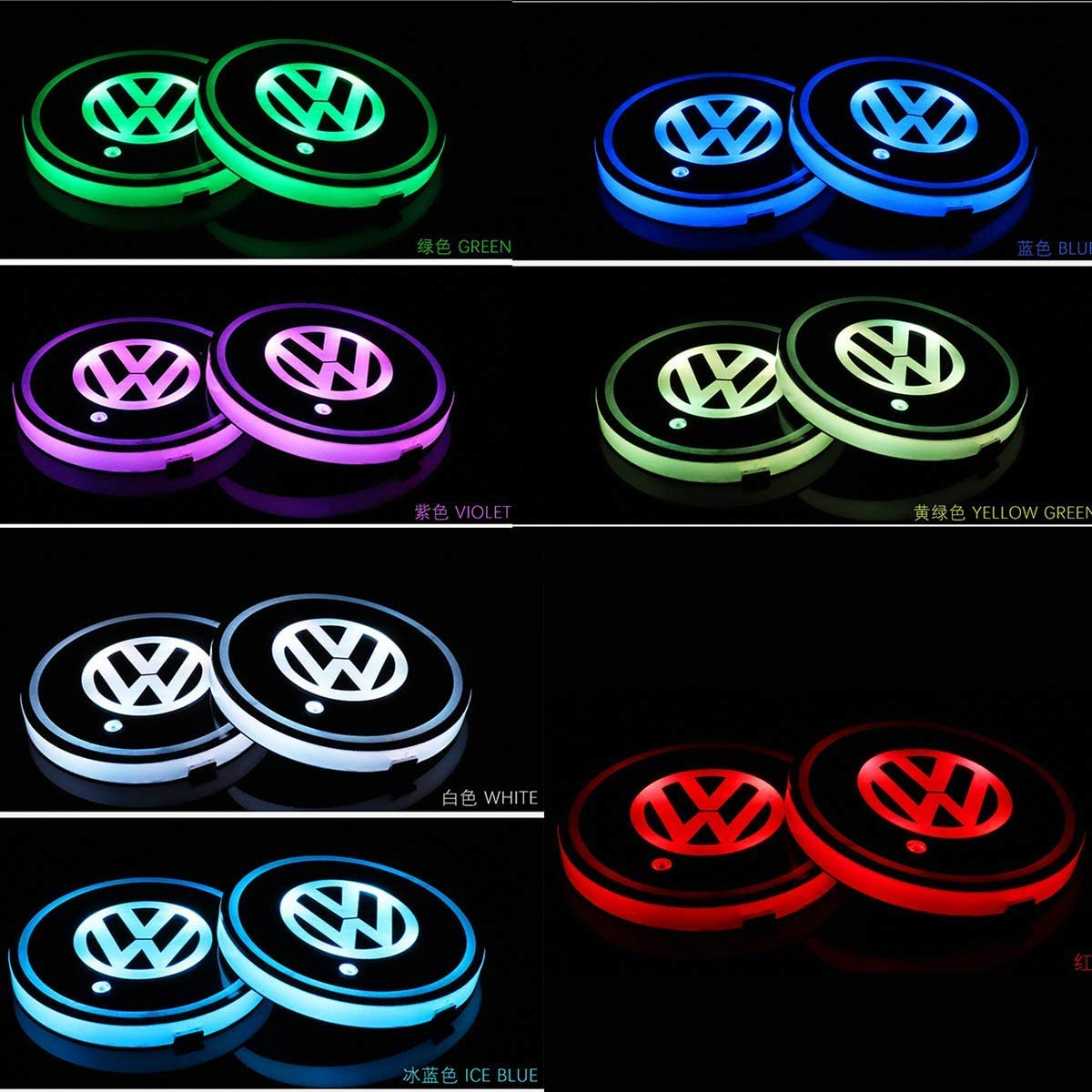LED Interior Atmosphere Lamp,17 Colors Changing,USB Charging Mat Luminescent Cup Pad Cadillac Honghou Technology 2pcs LED Car Cup Holder Lights for Cadillac