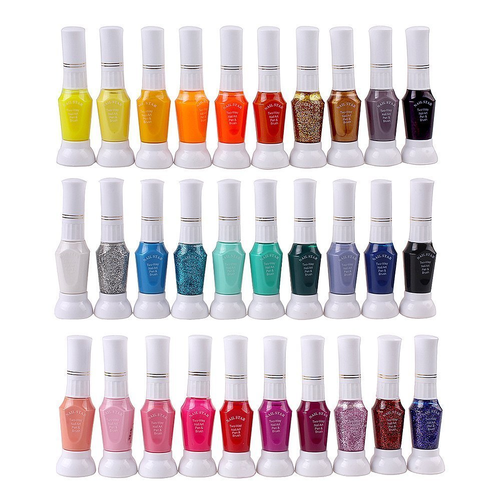 Amazon 30 colors nail art two way pen and brush varnish amazon 30 colors nail art two way pen and brush varnish polish skin care product sets beauty prinsesfo Images