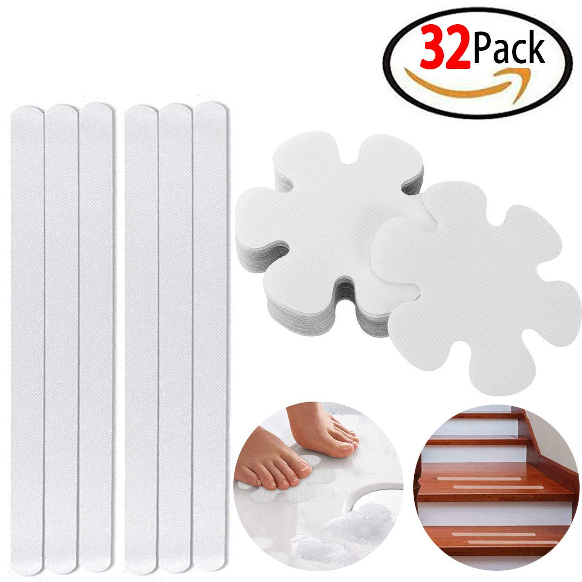 Set of 32, Non-Slip Traction to Tubs, Anti-Slip Bathtub Stickers, Safety Shower Treads, Adhesive Bath Safety Treads, Non-Toxic PEVA Anti-Slip Stickers for Showers, Pools, Boats, Tubs, Stairs & More Originalidad