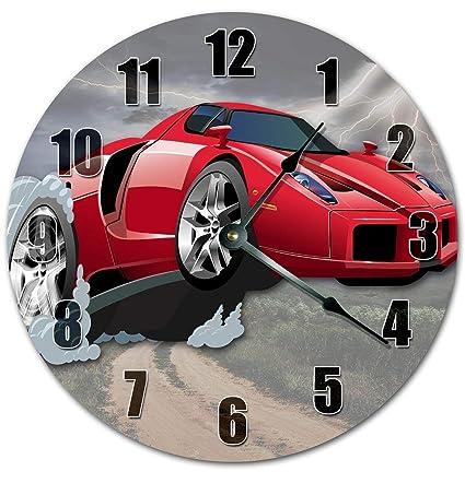 Amazon Com Pottelove 12 Vintage Cartoon Red Sports Car Clock