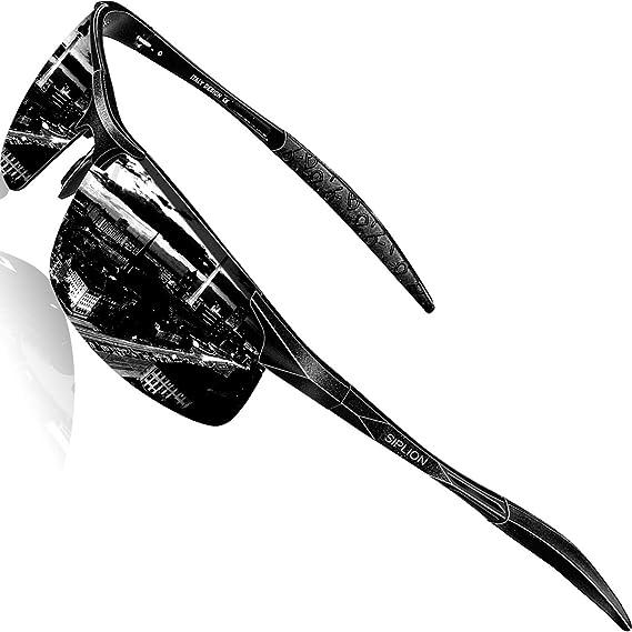 05bab546d7 SIPLION Men s Driving Polarized Sport Sunglasses Al-Mg Metal Frame Ultra  Light 8177 Black