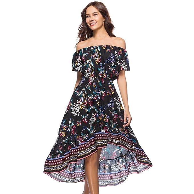 Damen Lang Kleid Sommer Elegant Off Shoulder Rose Blumen Schlitz ...