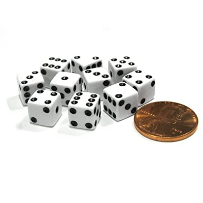 Set of 10 8mm Six Sided D6 Small Square Dice White with Black Pips by Koplow Games: Toys & Games