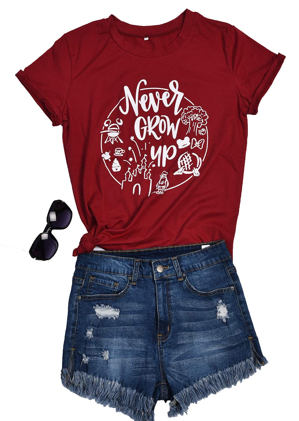 Ido4U Funny Graphic Tees Letter Printed T-Shirts Summer Round Neck Short Sleeve Tops (Never Grow Up,2XL)