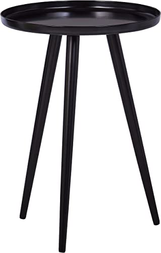 Rivet Modern Round Metal Side End Accent Table, 15 W, Black