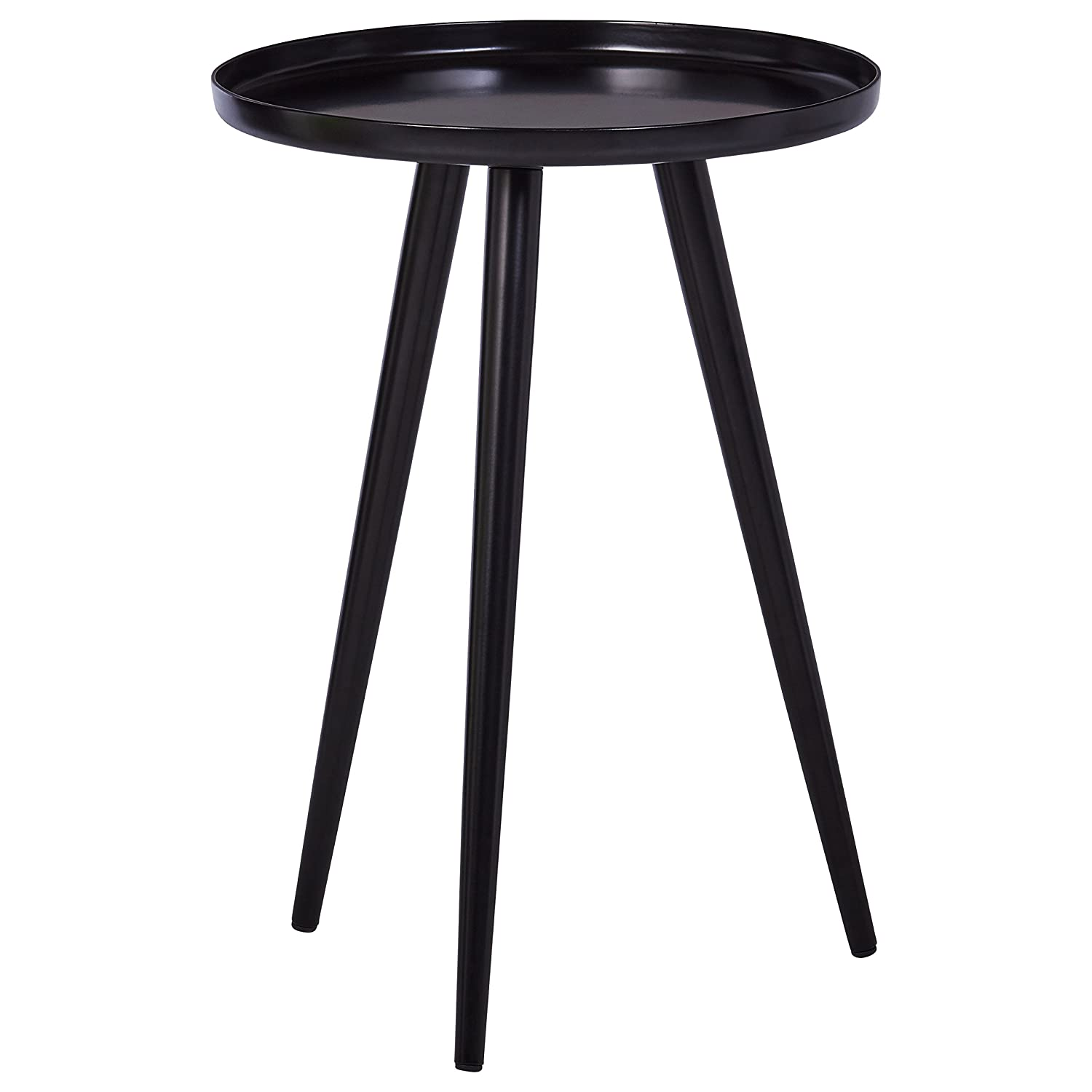 "Rivet Modern Metal Side Table, 15""W, Black"