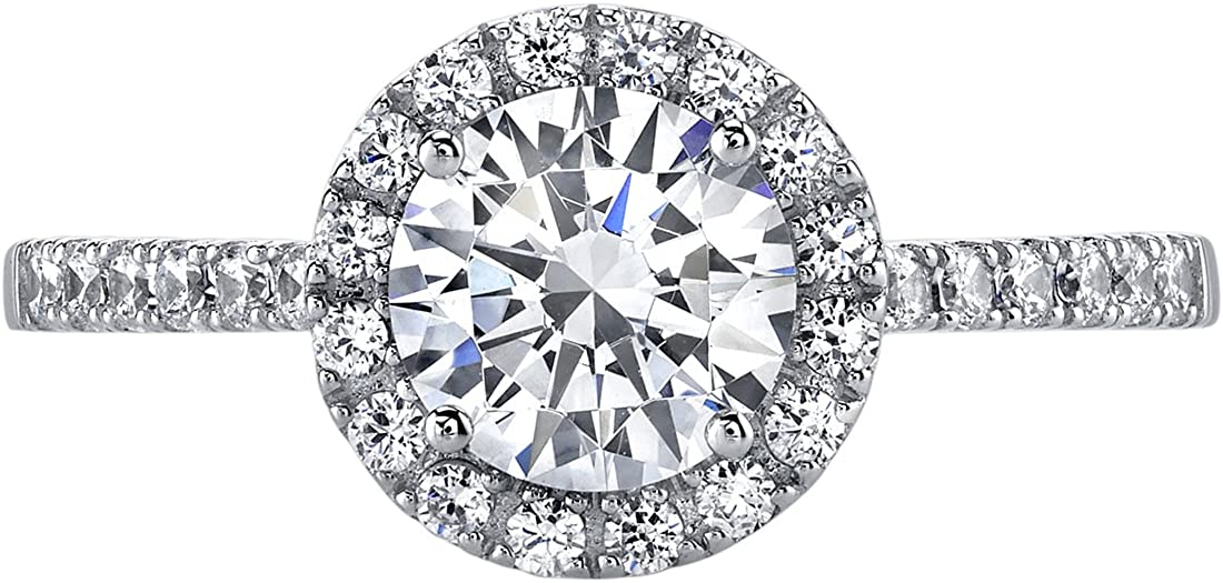 Peora 14K White Gold Halo Engagament Ring and Wedding Band Bridal Set Sizes 4-10