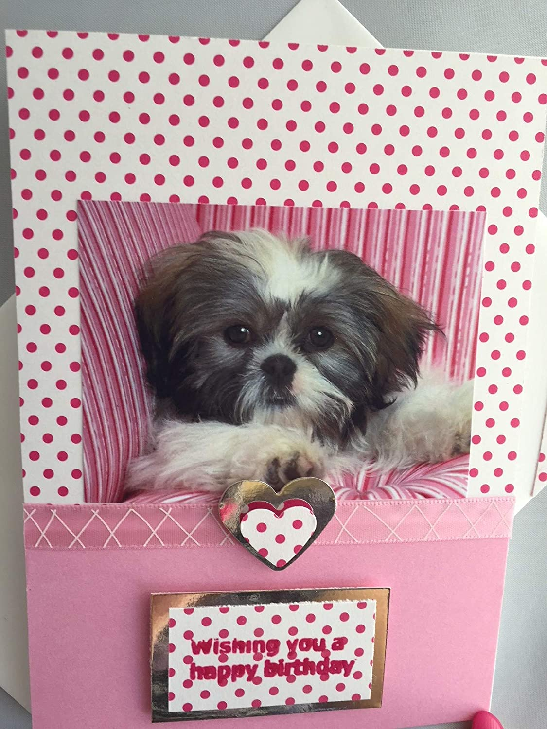 SHIH TZU Puppy GREETINGS Dog Card Handmade Happy Birthday Wishes Congratulations Pink A6 C6 Size Amazoncouk