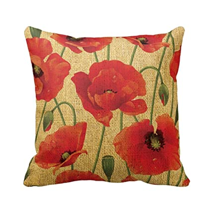 Amazon Red Poppy Flowers Throw Pillow Throw Pillow Case Home Awesome Poppy Floral Decorative Pillows