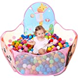 LOJETON Kids Ball Pit Pop Up Children Play Tent, Toddler Ball Animal Pool Baby Crawl Playpen with Basketball Hoop and Zipper