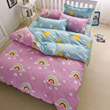 Nattey Rainbow Cotton Blend Bed Pillowcase Duvet Cover Quilt Cover Set Twin Size (Twin)