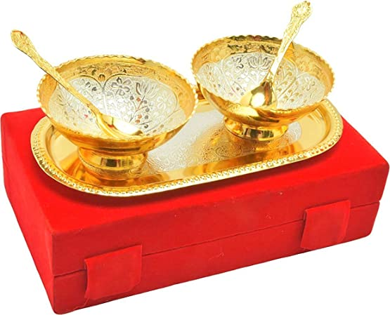 IndianCraftVilla Handmade Occasion gifts silver gold plated unique bowl set with comes with gift pack use for Dry Fruits, gifting purposes on Wedding Aniversary Diwali Christmas Occasion Glassware & D at amazon
