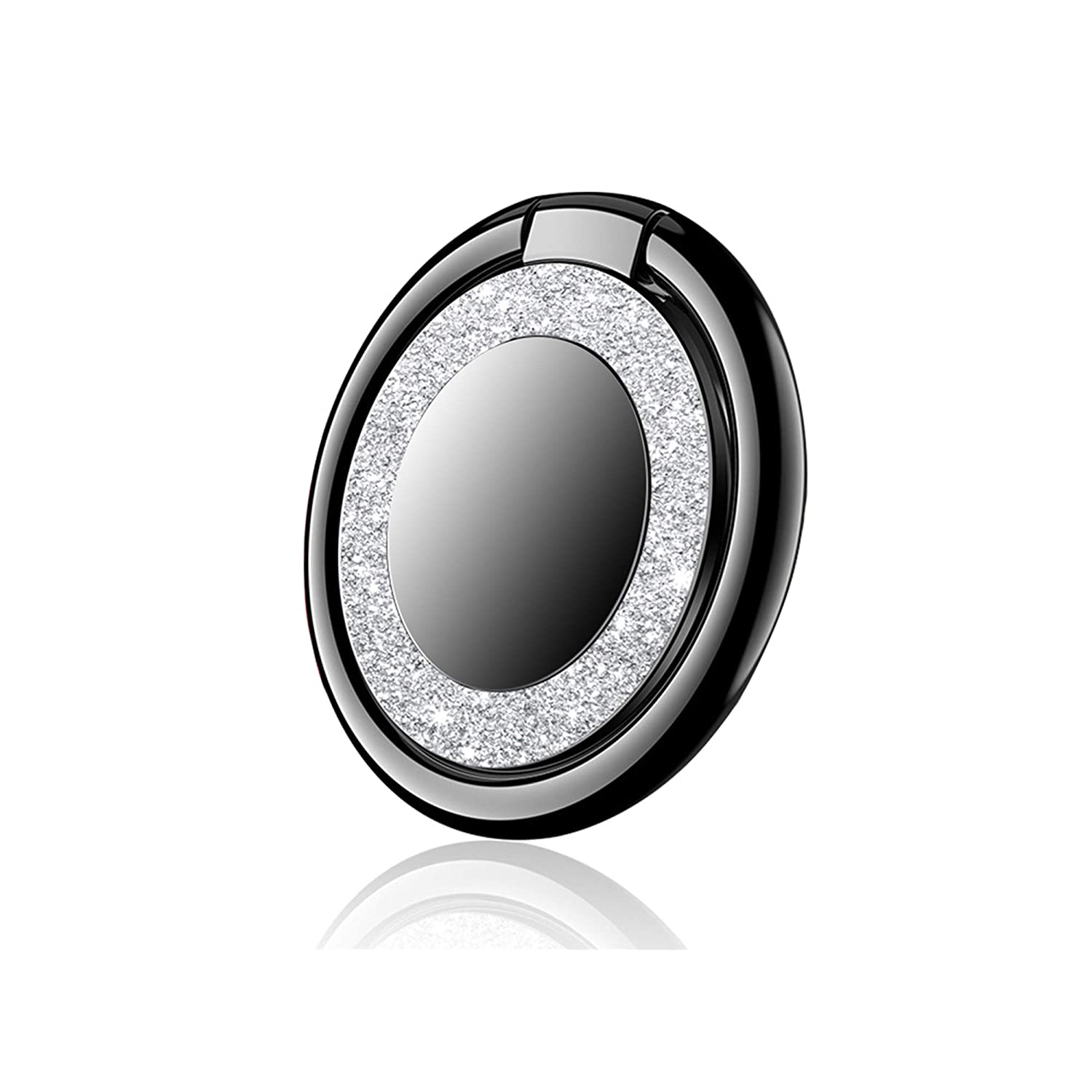 Circular-Silver Owoda Crystal Phone Finger Ring Holder 360/°Thin Phone Ring Stand Magnetic Car Mount Grip for Phone Samsung Table and More