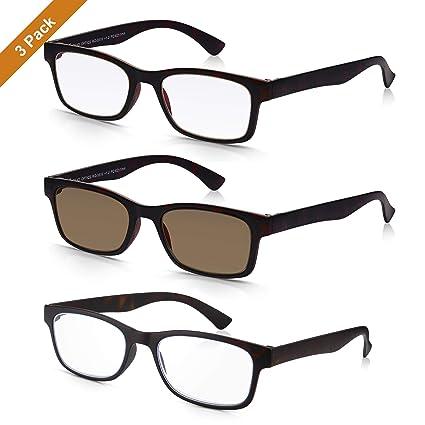 x3 Pack READ OPTICS Gafas de Sol Graduadas para Leer: Montura en Tortoise Marrón para Hombre/Mujer. Lentes Tintadas con protección 100% UV-4000 (+1.50 ...