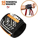 Magnetic Wristband - JIANYI 15 Super Strong Magnets with Breathable Material, Adjustable Wrist Strap for Holding Screws Nails Bolts Drill Bits and Small Tools - Best Unique Tool Gift for DIY Handyman