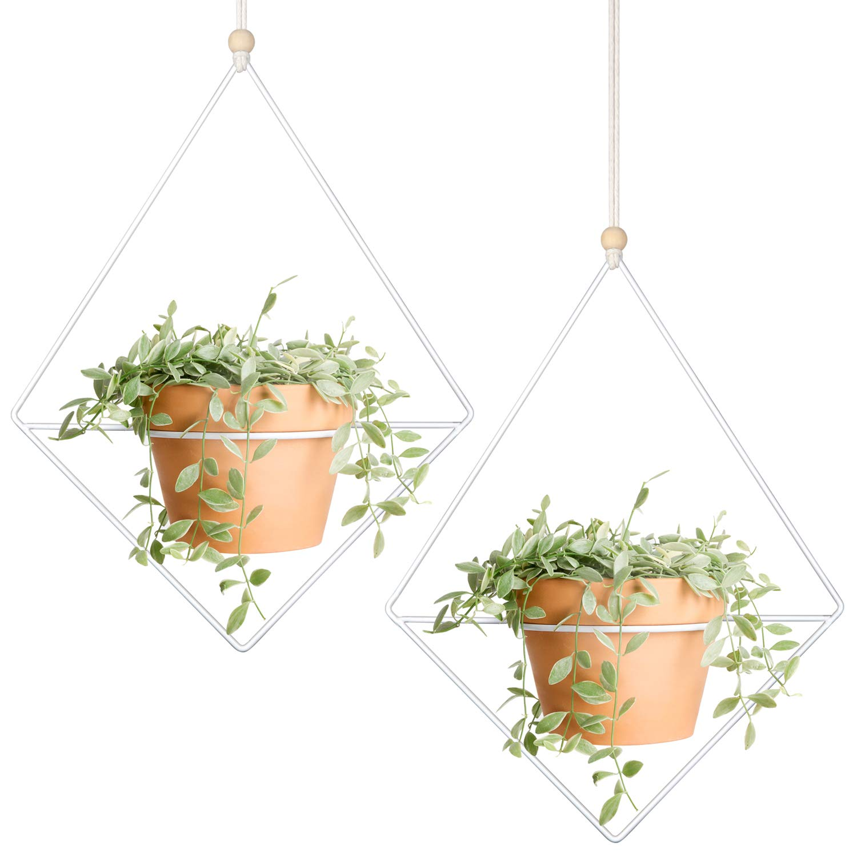 Mkono 2 Pcs Plant Hanger Metal Diamond-Shaped Hanging Planter Modern Home Decor, Fits Large 6 Inch Planter Flower Pot NOT Included