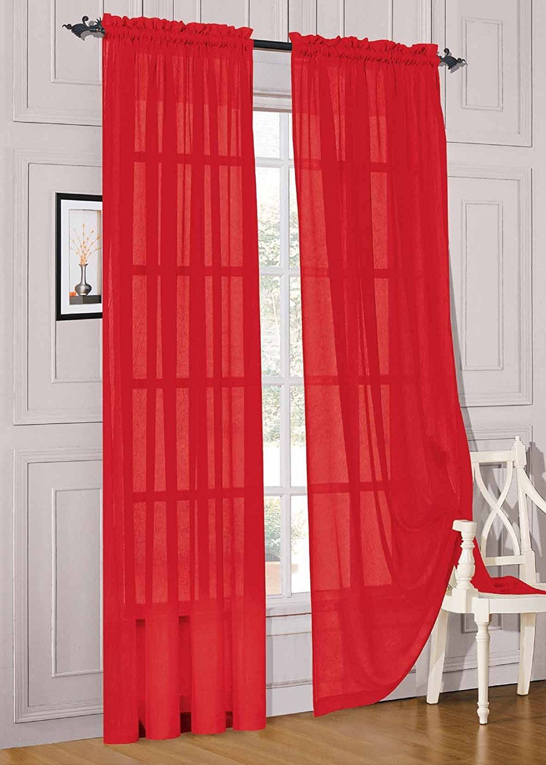 WPM 2 Piece Beautiful Sheer Window Elegance Curtains/drape/panels/treatment Red