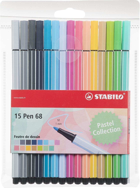 Stabilo Pen 68 - Estuche de 15 rotuladores de punta media (colores pastel): Amazon.es: Oficina y papelería