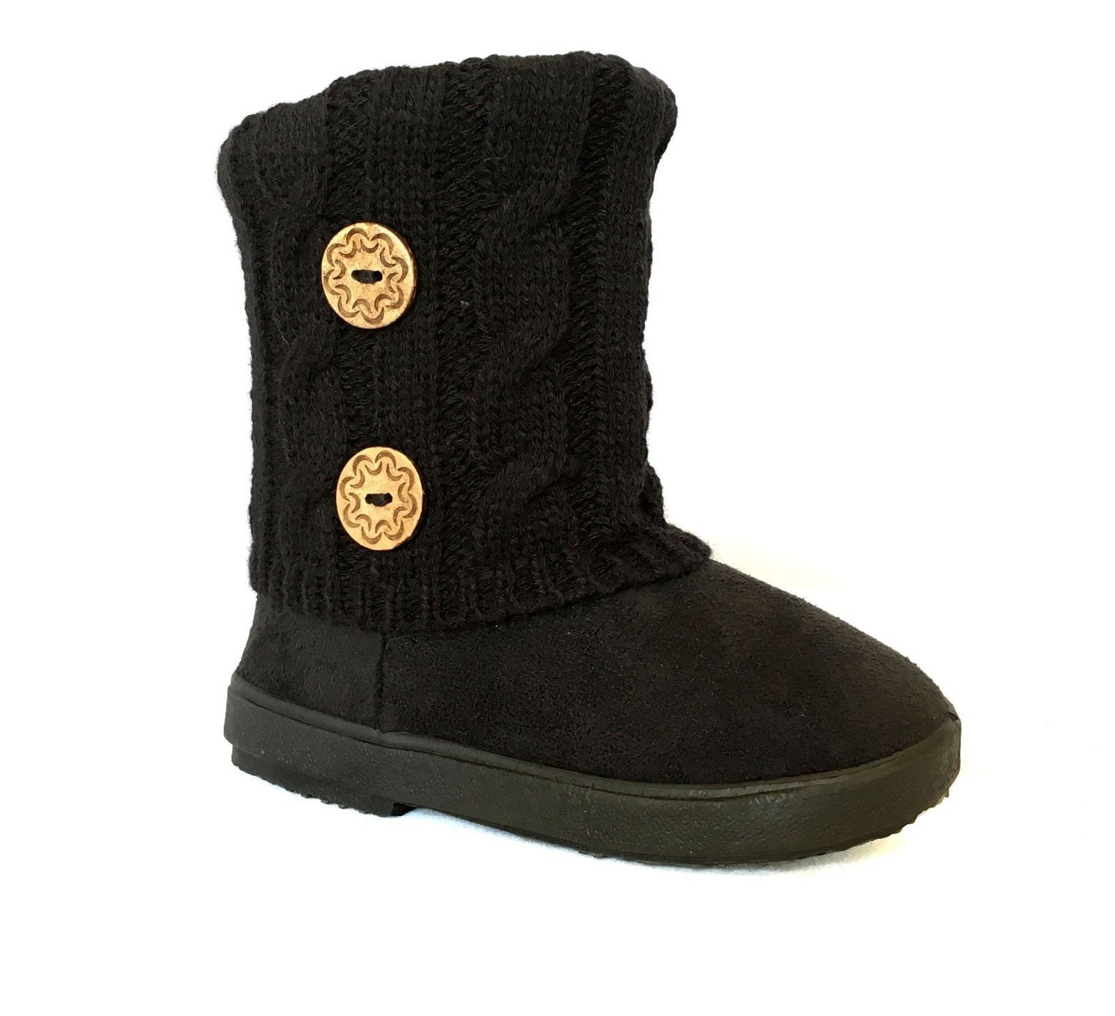 Kids Boots Toddler Girls Cute 2 Buttons Faux Fur Suede Knitting Shoe | 285 (Toddler 7, Black)