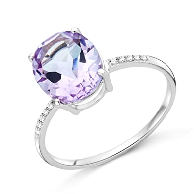 Miore 9ct White Gold Amethyst and Diamond Ring SA9022R GO0G6hY