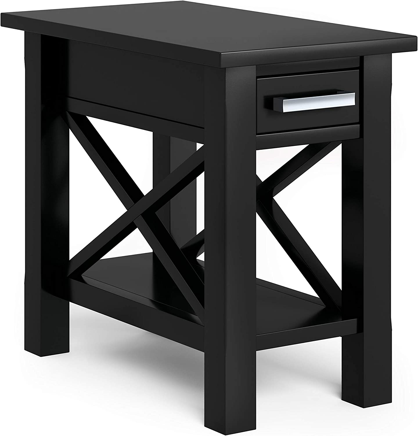 SIMPLIHOME Kitchener SOLID WOOD 14 inch Wide Rectangle Contemporary Narrow Side Table in Black with Storage, 1 Drawer, 1 Shelf, for the Living Room and Bedroom