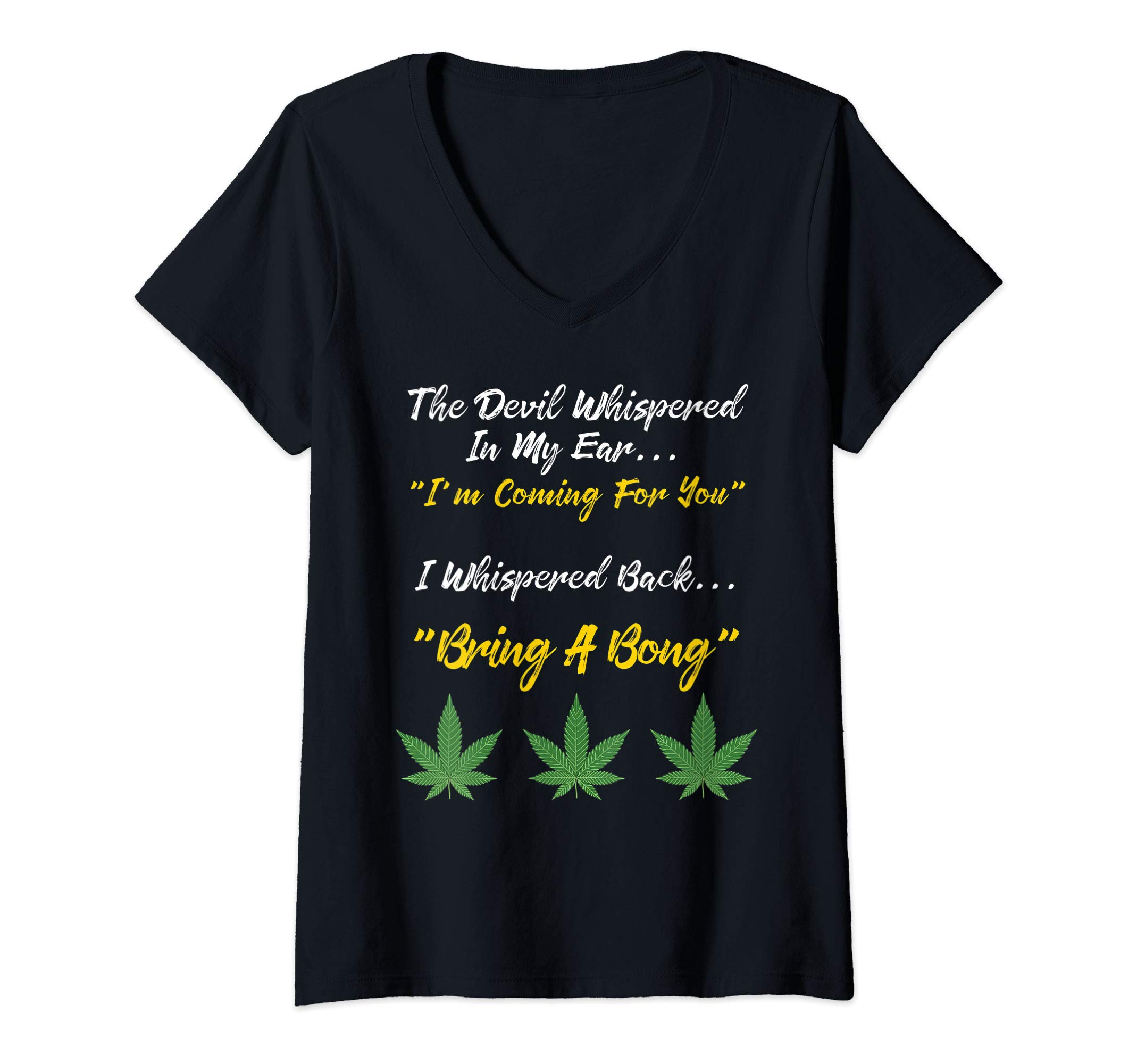 Womens Marijuana Shirt 420 Shirt Medical Cannabis Rave Party Gift V-Neck T-Shirt